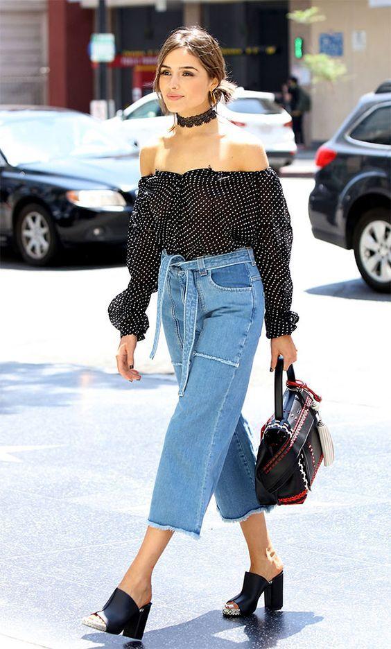 top ombro a ombro com pantacourt jeans