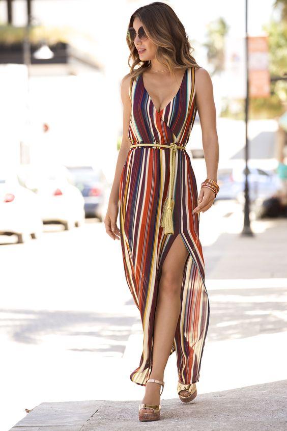 Vestido Com Listras Coloridas O Queridinho Do Momento