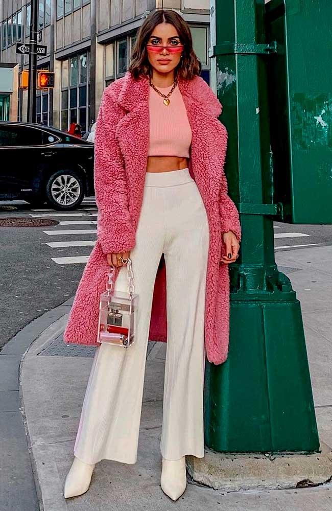 casaco teddy bear rosa