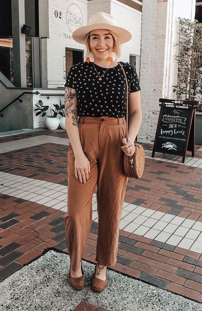 blusa de poá e calça social