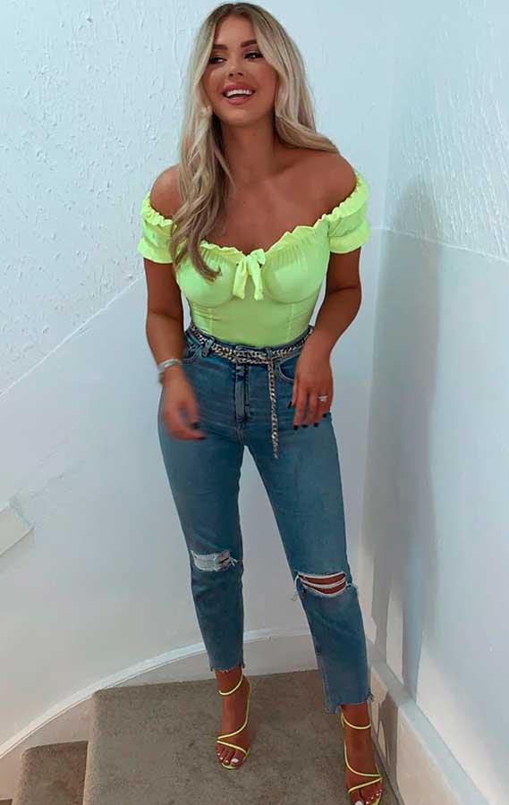 cropped neon com jeans rasgado
