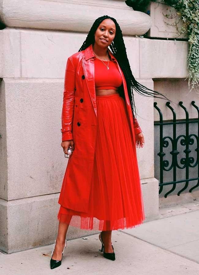 look monocromático all red