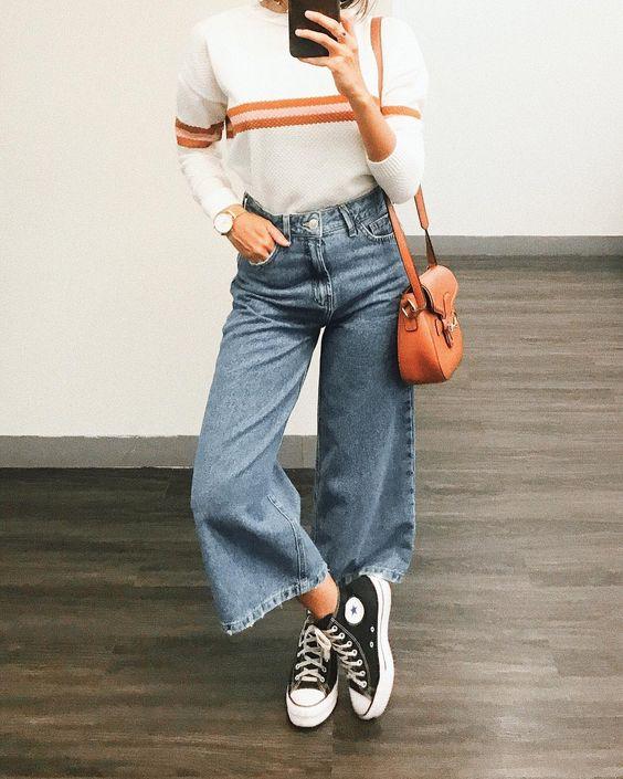blusa listrada a pantacourt jeans