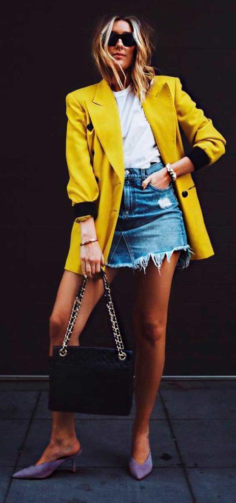 blazer com minissaia jeans
