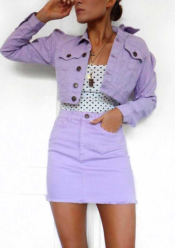 Conjuntinho lilás, blusa poá