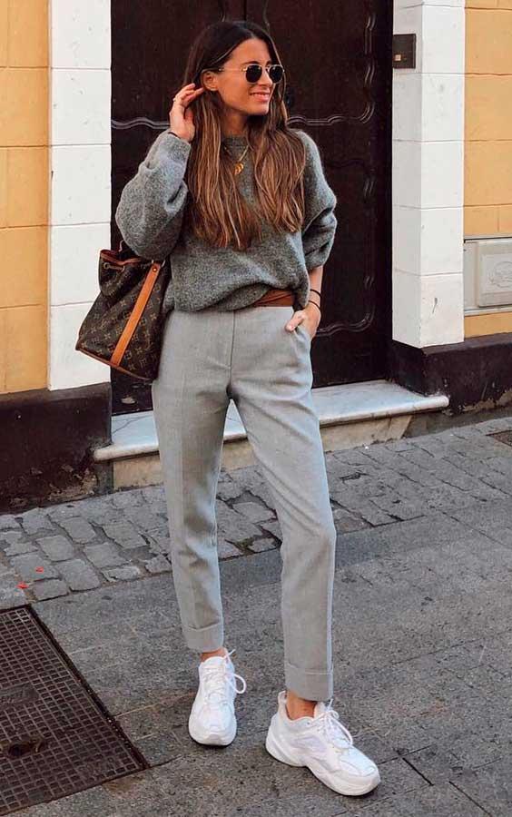 calça de alfaiataria com tênis