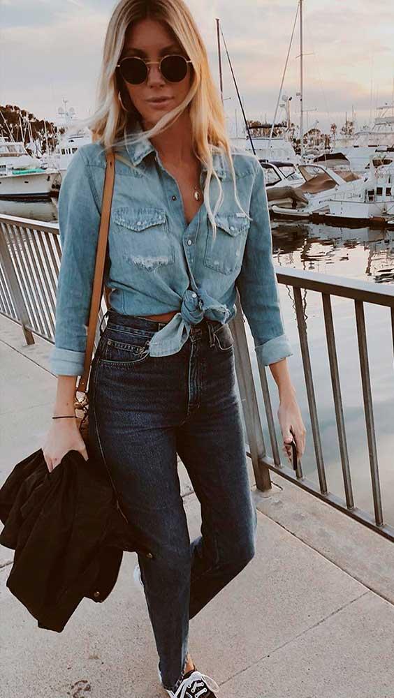Camisa jeans com nozinho