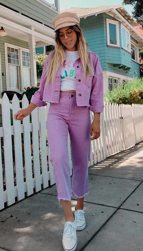 conjuntinho jeans lilás
