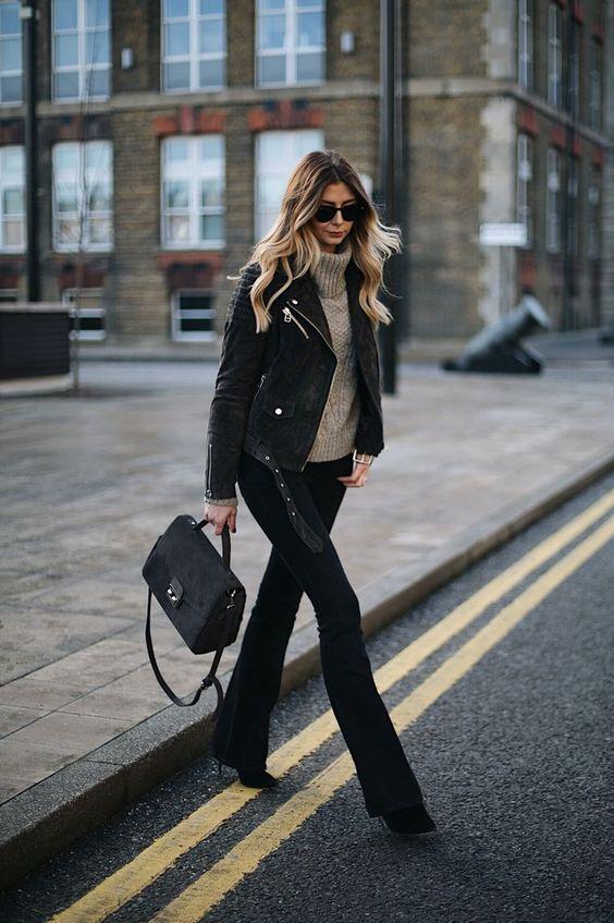 jaqueta de couro e bota