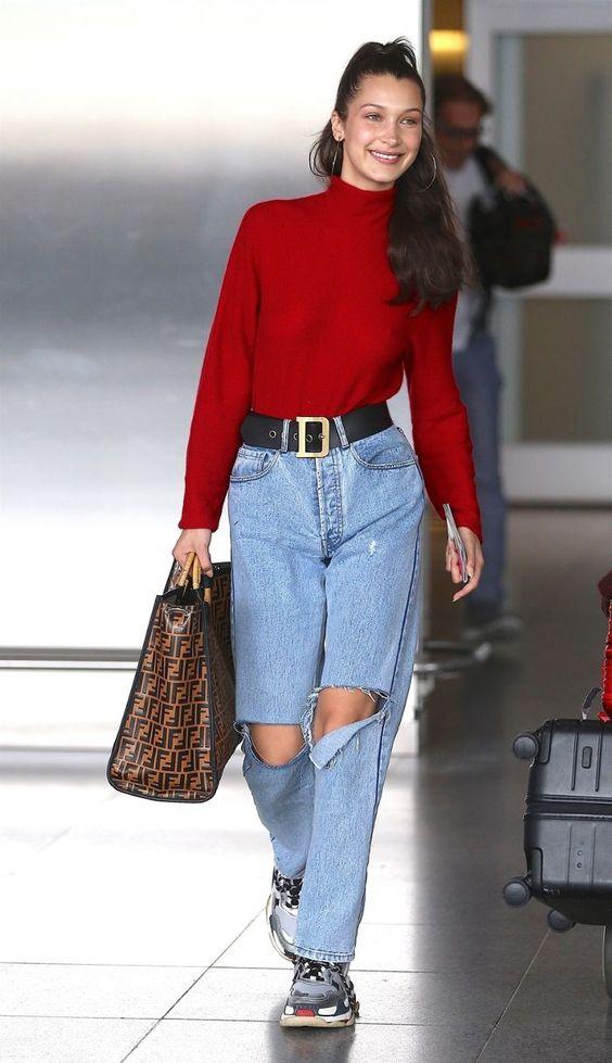 blusa vermelha de manga com cinto Dior