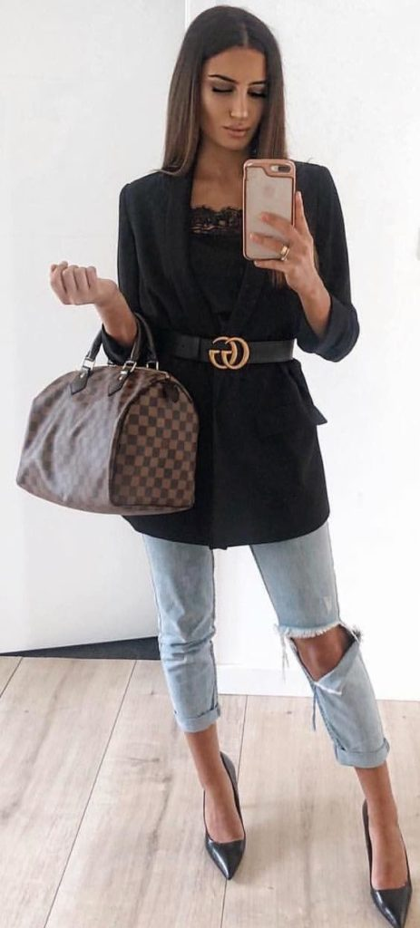 blazer preto com cinto