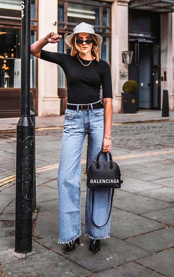 look casual com blusa perta e calça jeans