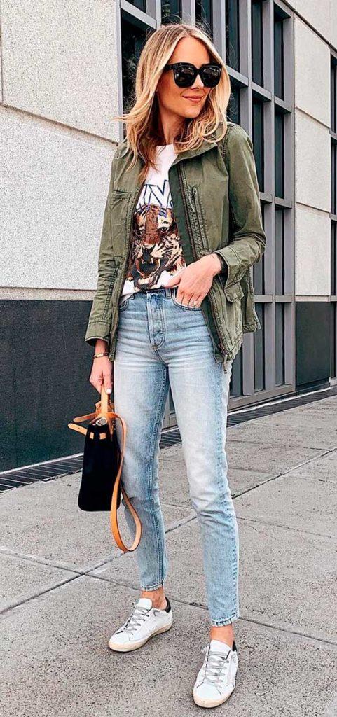 look do dia a dia com calça jeans e parka