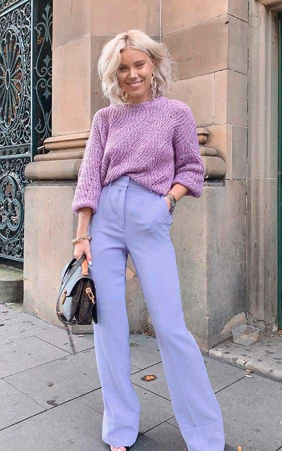 look monocromático lilás