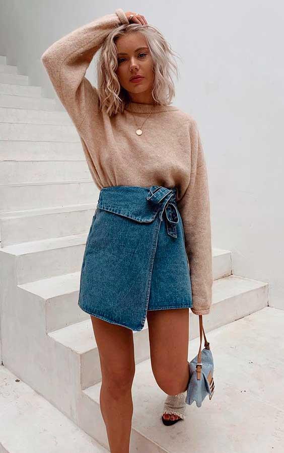 suéter nude e minissia