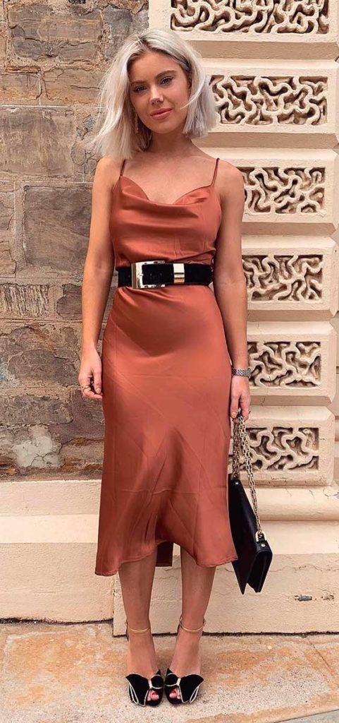 slip dress com cinto western