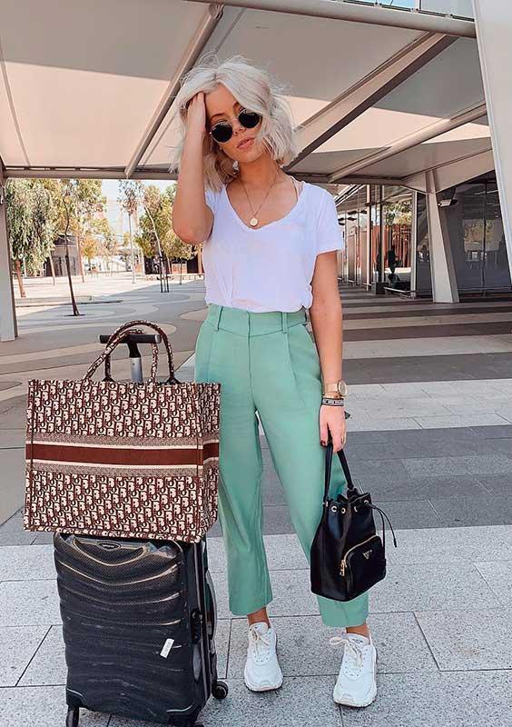 calça de alfaiataria verde menta