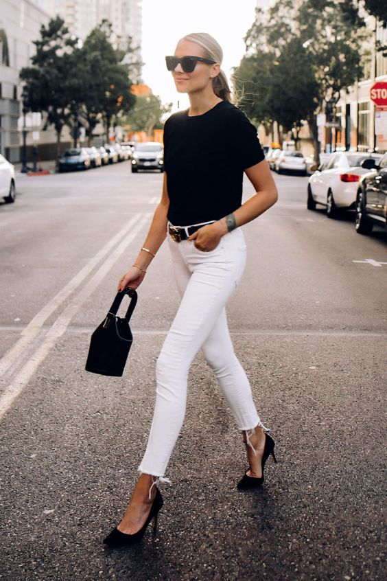 blusa preta calça branca