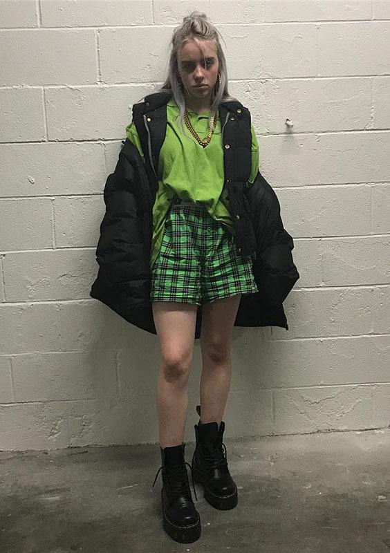 short xadrez verde