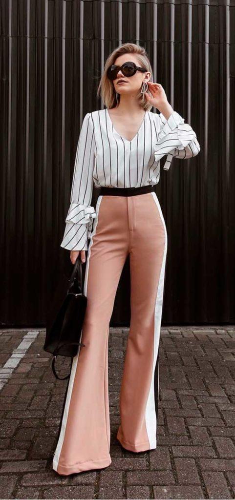 camisa listrada e calça rosa