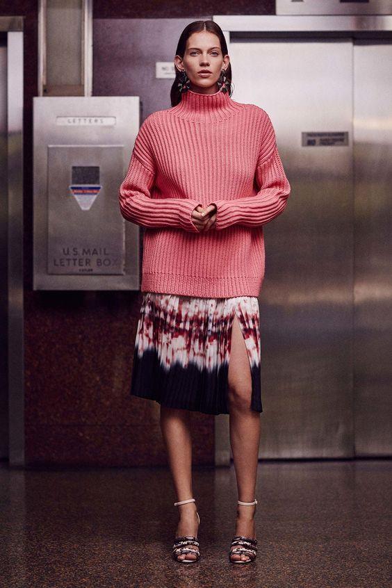 suéter e saia midi