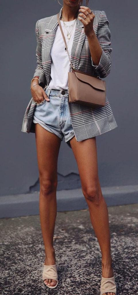 look casual com short e blazer