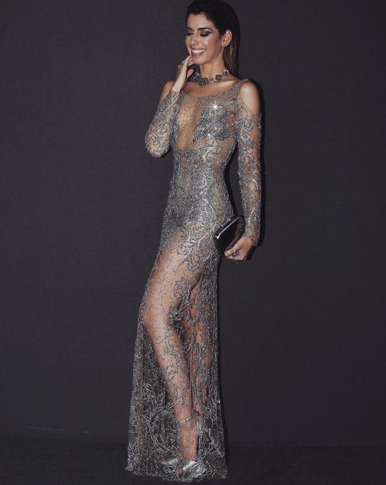 vestido de festa prata