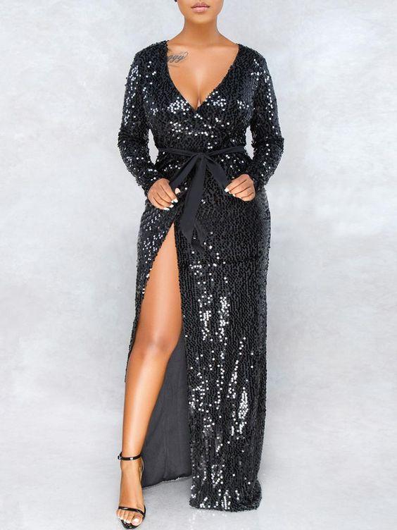 vestido de festa com paetês