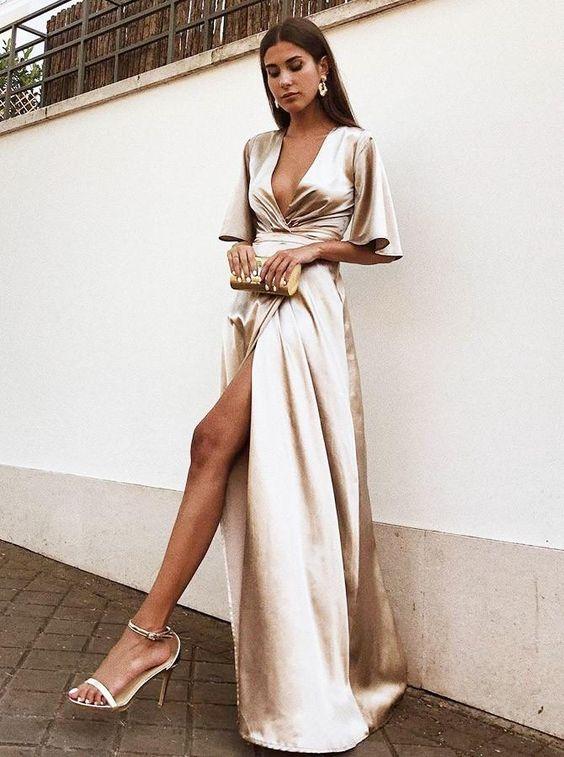 vestido de cetim envelope
