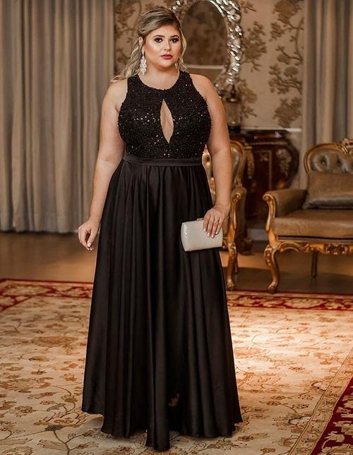 vestido de festa preto com brodado