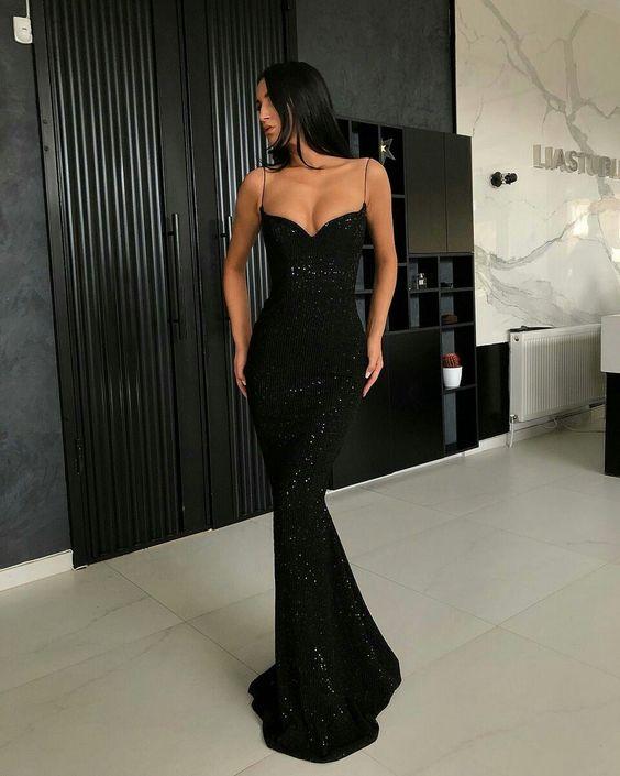 vestido de festa preto estilo sereia