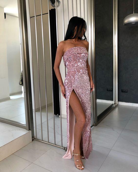 vestido rosa com paetês