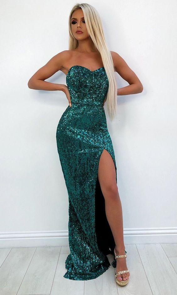 vestido verde com paetês