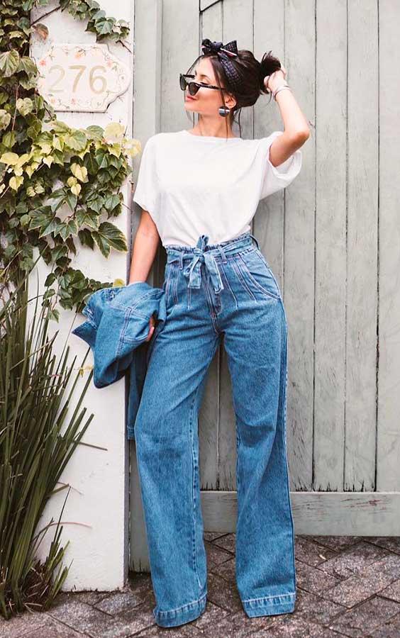 calça flare clochard jeans