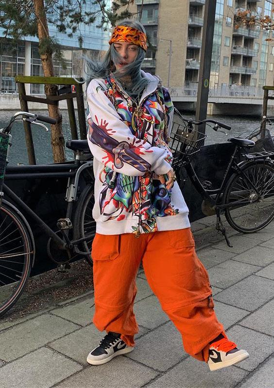 calça cargo oversized laranja