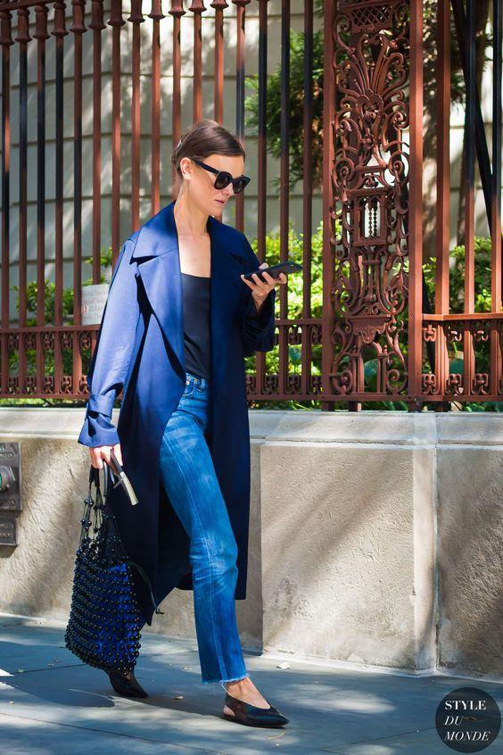 casaco alongado azul marinho