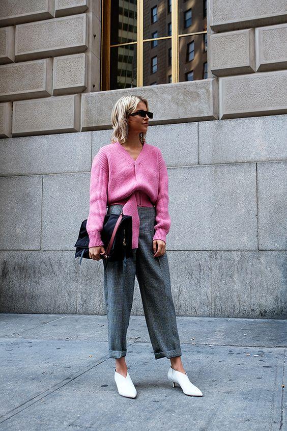 calça cinza inza + rosa suéter