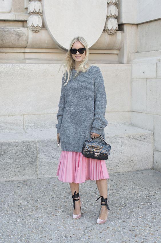 suéter inza + rosa saia plissada