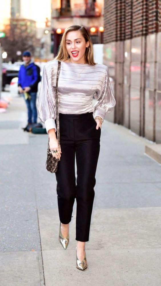 blusa de lurez prata e sapato metalizado