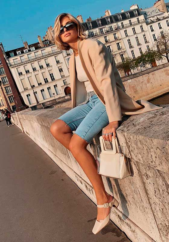 trends, bermuda jeans e blazer