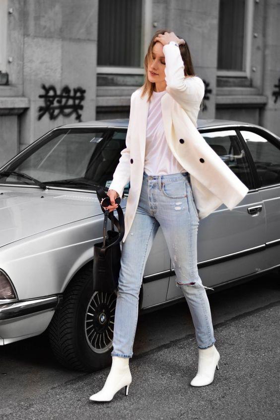 trends, blazer branco e bota branca