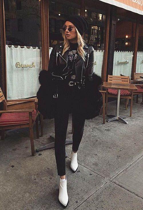 look all black com bota branca