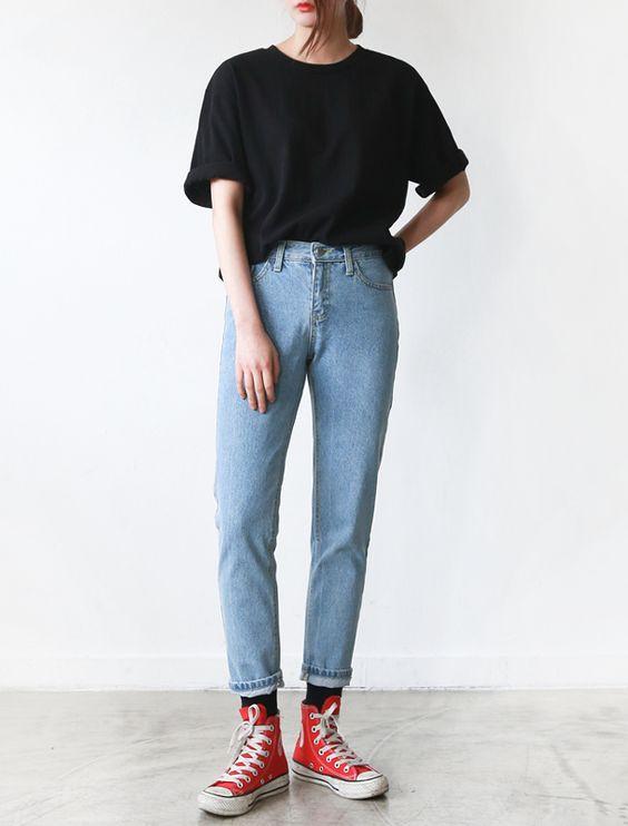 all star vemelho com mom jeans