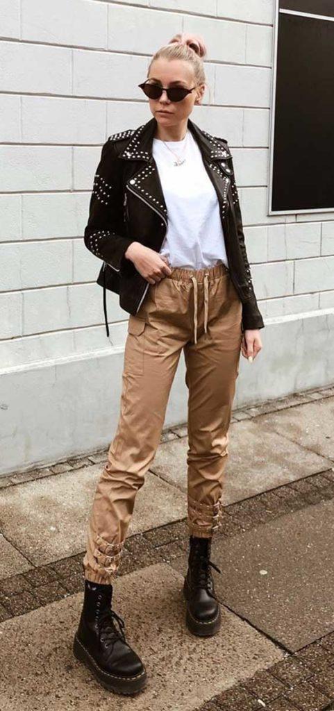 jaqueta de couro e calça jogging