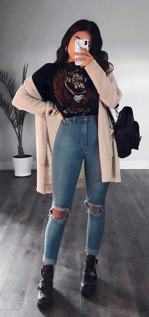 Look de inverno com jeans destroyed