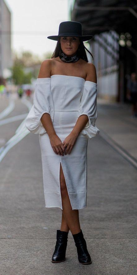 vestido branco e bota western