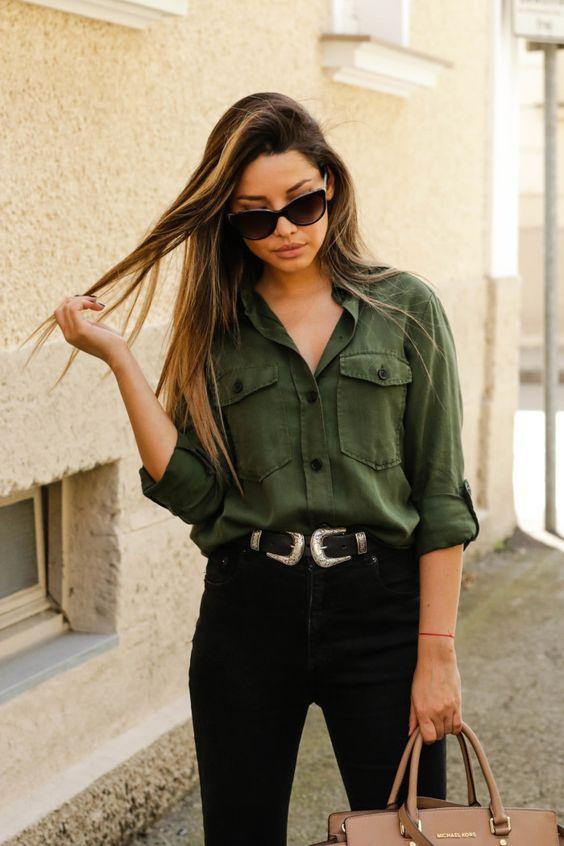 western e camisa verde militar