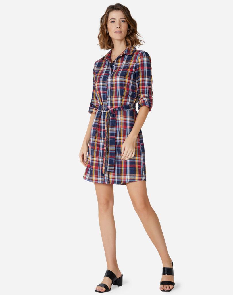 vestido chemise xadrez