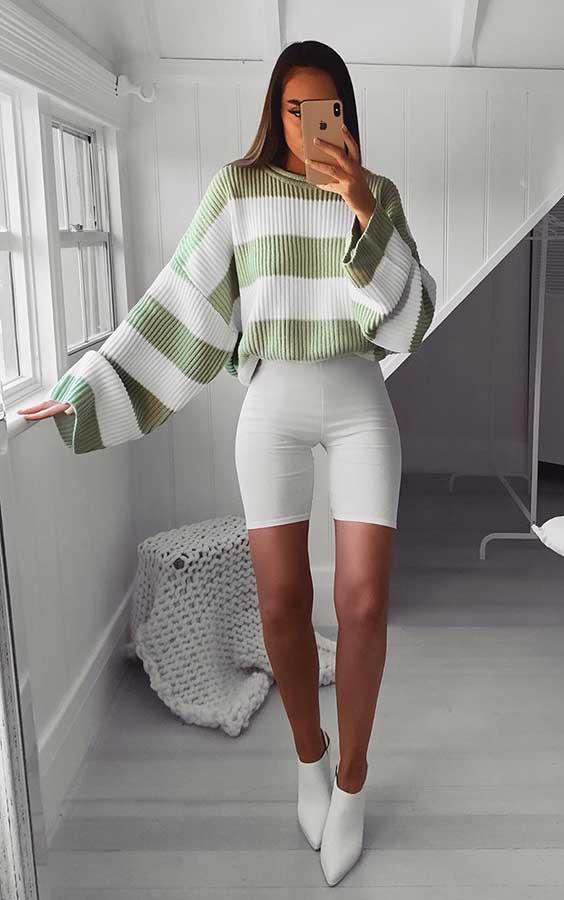 suéter oversized e bermudinha