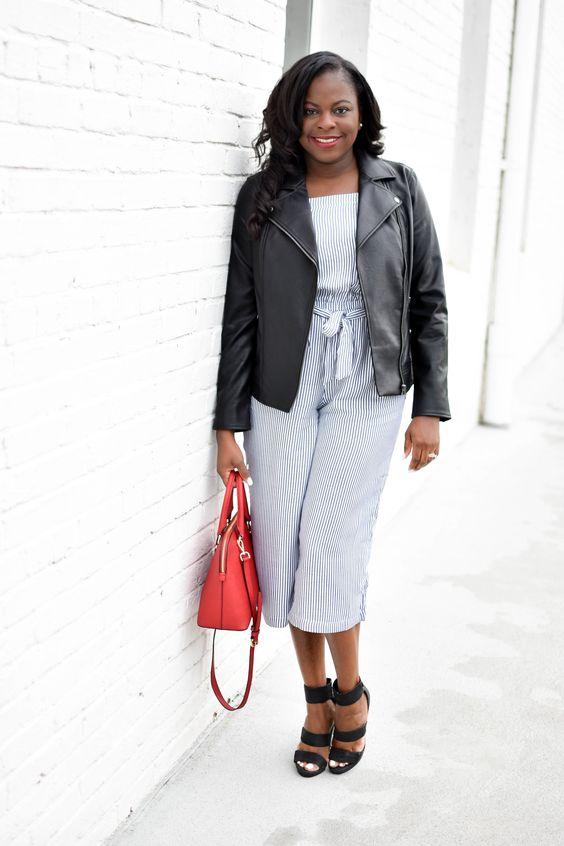 jaqueta de couro e macacão